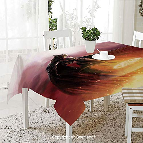 BeeMeng Large dustproof Waterproof Tablecloth,Family Table Decoration,Fantasy World,Superhero in His Original Costume Flying Up Magic Flame Save The World Theme,Yellow Red,70 x 104 -