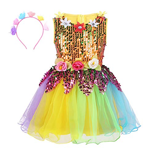 inlzdz Kids Girls Hip-Hop Jazz Latin Dance Dress Rainbow Sequins with Wristband Street Stage Performance Costume Colorful Sleeveless 7-8]()