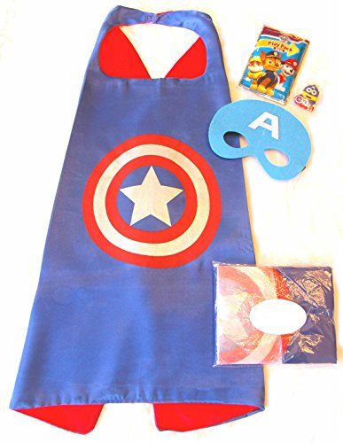 Three Piece Superhero Cape and Mask Sets with Bonus Prize for Pretend Play, Dress Up, and Parties (Captain America) ()