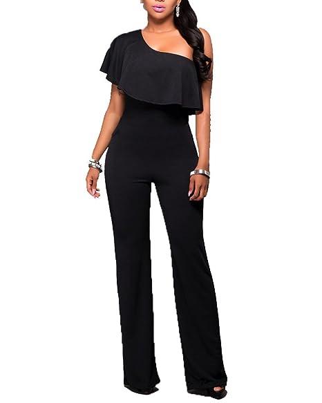 086787e14852 Donna Jumpsuit Pantaloni Lunghi Playsuit Tuta Eleganti Vestiti Senza  Spalline Tute Da Cerimonia Nero L