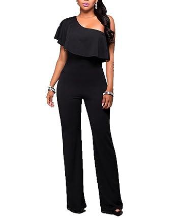 Combinaison Pantalons sans Manches Femme Slim Une Epaule Dénudée Taille  Haute Jumpsuit Romper Longues Noir M 26440269811c