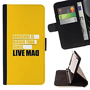 BullDog Case - FOR/Samsung Galaxy Core Prime / - / Live Mad Funny Message /- Monedero de cuero de la PU Llevar cubierta de la caja con el ID Credit Card Slots Flip funda de cuer