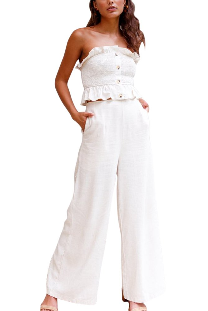 BELONGSCI Women 2 Pieces Outfits Suit Sexy Stringy Selvedge Sleeveless Tube Bandeau Tops+Long Wide Leg Pants