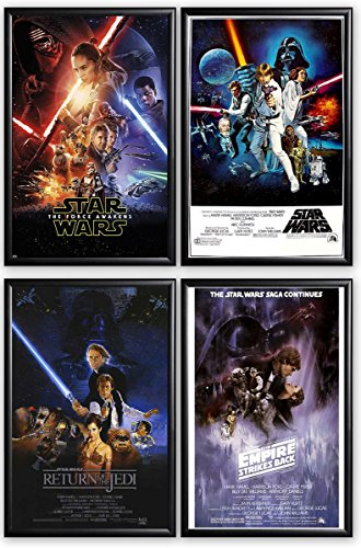 FRAMED Star Wars Episodes 4, 5, 6 and 7 24x36 posters Dry Mo