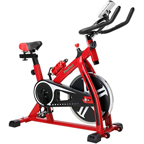 Finether Exercise Bike, Indoor Chain Driven Cycling Bike Stationary Bicycle with Flywheel, Pulse, Water Bottle and Transport Wheels, 5.6 Feet Height and 265 lbs Weight Capability, Red – DiZiSports Store