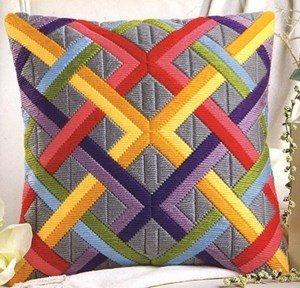 Longstitch Kit Colourful Diagonals Long Stitch Cushion Front