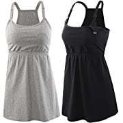 KUCI Maternity Nursing Top Tank Cami, Women Mateniry Nursing Sleep Bra Breastfeeding Tops for Pregnancy (L, Black+Grey/2Pack)