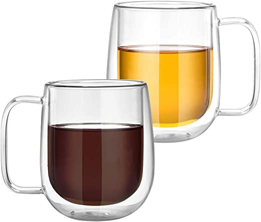 Fineway Set of 2 Double Wall Insulated Thermo Glass Mugs Heat Resistant Thermal Glass Coffee Cup Coffee Tea Espresso Cappuccino Latte For Hot /& Cold Drinks