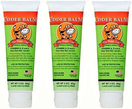 The Happy Cow Moisturizing Udder Balm - 3oz tube (3 Pack)