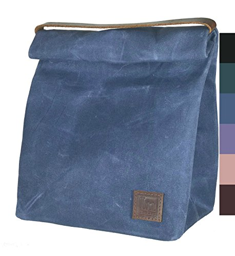 Blue Canvas Bag With Leather Straps - 1