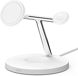 Belkin MagSafe 3-in-1 Wireless Charger, 15W iPhone Fast Charging, Apple Watch, AirPods Charging Station for iPhone 12, Pro, Pro Max, Mini, AppleWatch and AirPods