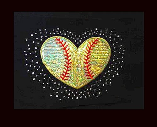 Softball Heart - Neon Yellow - Sequin and Rhinestone Iron on Transfer