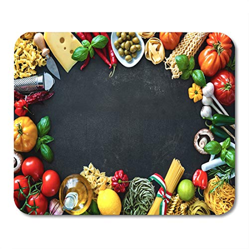 Semtomn Mouse Pad Italian Food Ingredients Vegetables Olive Oil Cheese Herbs Mousepad 9.8
