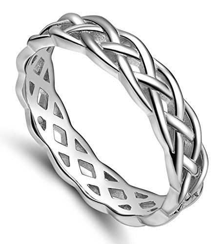 925 Sterling Silver Celtic Knot Eternity Band Ring Engagement Wedding Band 4mm Size 4 - (Celtic Symbol Of Eternity)