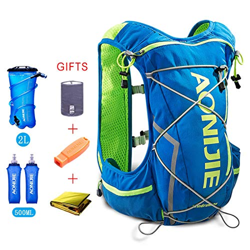 POJNGSN 10L Running Hydration Vest Men Women Bicycle Outdoor Sport Bags Jogging Cycling Hiking Backpack blue-350-2L by POJNGSN (Image #3)