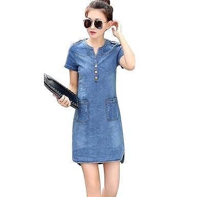 52d5e8e3383 Image Unavailable. Image not available for. Color: Summer Short Sleeves Women  Denim Dress Loose V-Neck Solid Denim Dress Slim Thin Dresses