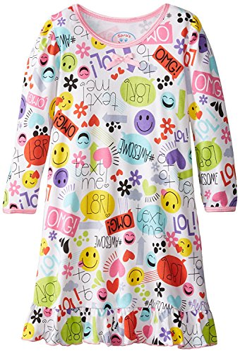 Sara's Prints Little Girls' Cotton Puffed Sleeve Nightgown, Text Me, 3 (Nightgown Print)