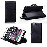 iPhone 6 Case - Bear Motion Wallet Case for iPhone 6 4.7 - Premium 100% Genuine Top Layer Leather Case for iPhone 6 with 4.7 inch Screen (Black)
