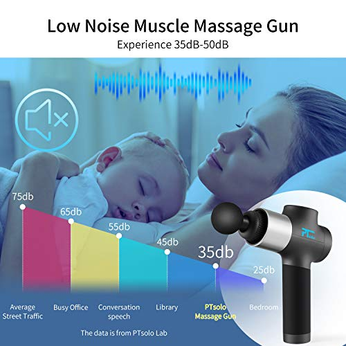 PTsolo Massage Gun Deep Tissue,Muscle Massage Gun Handheld Body Percussion Massager,20 Speed Adjustable Electric Massager, with 6 Heads for Relieving Muscle Pain, Soreness, and Stiffness
