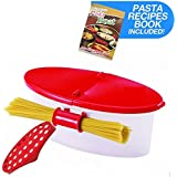 Hot Pasta Boat   Versatile Microwave Pasta Cooker Vegetable Steamer Boat Strainer with Recipe Book   Sturdy Food Grade Heat Resistant PP Material   Effortless Usage Anti Mess No Stick Colander   Massive Capacity Up To 5 Pound   Vibrant Red