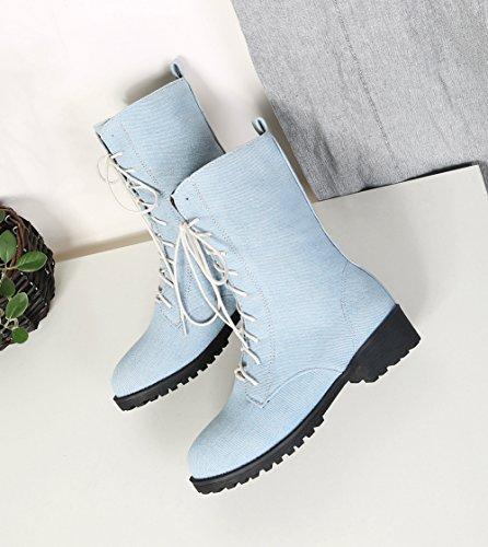 Aisun Denim Boots Stiefel Schnürsenkel Damen Blockabsatz Runde Hellblau Martin Halbschaft Zehen PPq4ragw