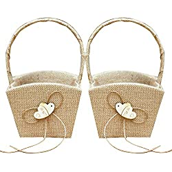 GuiHe 2PCS Burlap Double Heart Wedding Flower Girl Basket with Bowknot for Vintage Rustic Wedding Ceremony
