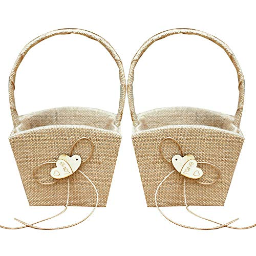 GuiHe 2PCS Burlap Double Heart Wedding Flower Girl Basket Bowknot Vintage Rustic Wedding Ceremony
