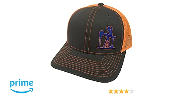Oil Field Hats Brand The Roadrunner Neon Orange Blue Mesh Snapback Hat -  FT1423 at Amazon Men s Clothing store  53c8a189ca34