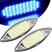 """HUSUKU NEO 2x1800LM 51LED Marine LED Lights for Boat Underwater, 5.6"""", IP68, 316 Stainless Steel, Surface"""