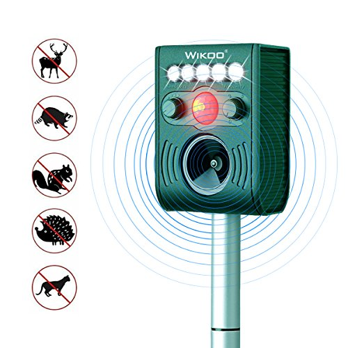 Wikoo Solar Powered Ultrasonic Animal and Pests Repeller,Outdoor Weatherproof Repeller,Motion Activated with Flashing LED Light and Ultrasonic Sound to Repel Animal Away