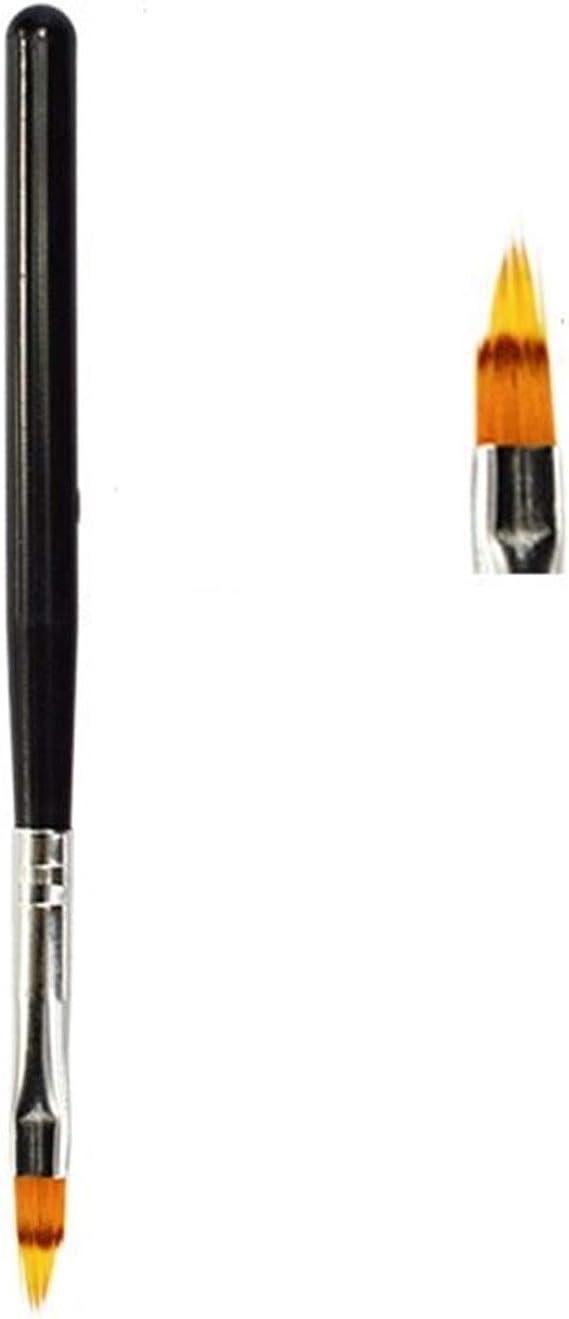 ネイルドットペン インテリアペン絵画ネイルアートソフトグラデーションブラシのためにマニキュアネイルポリッシュ描画するための1pcsネイルアートブラシジェルブラシ (Color : Black)