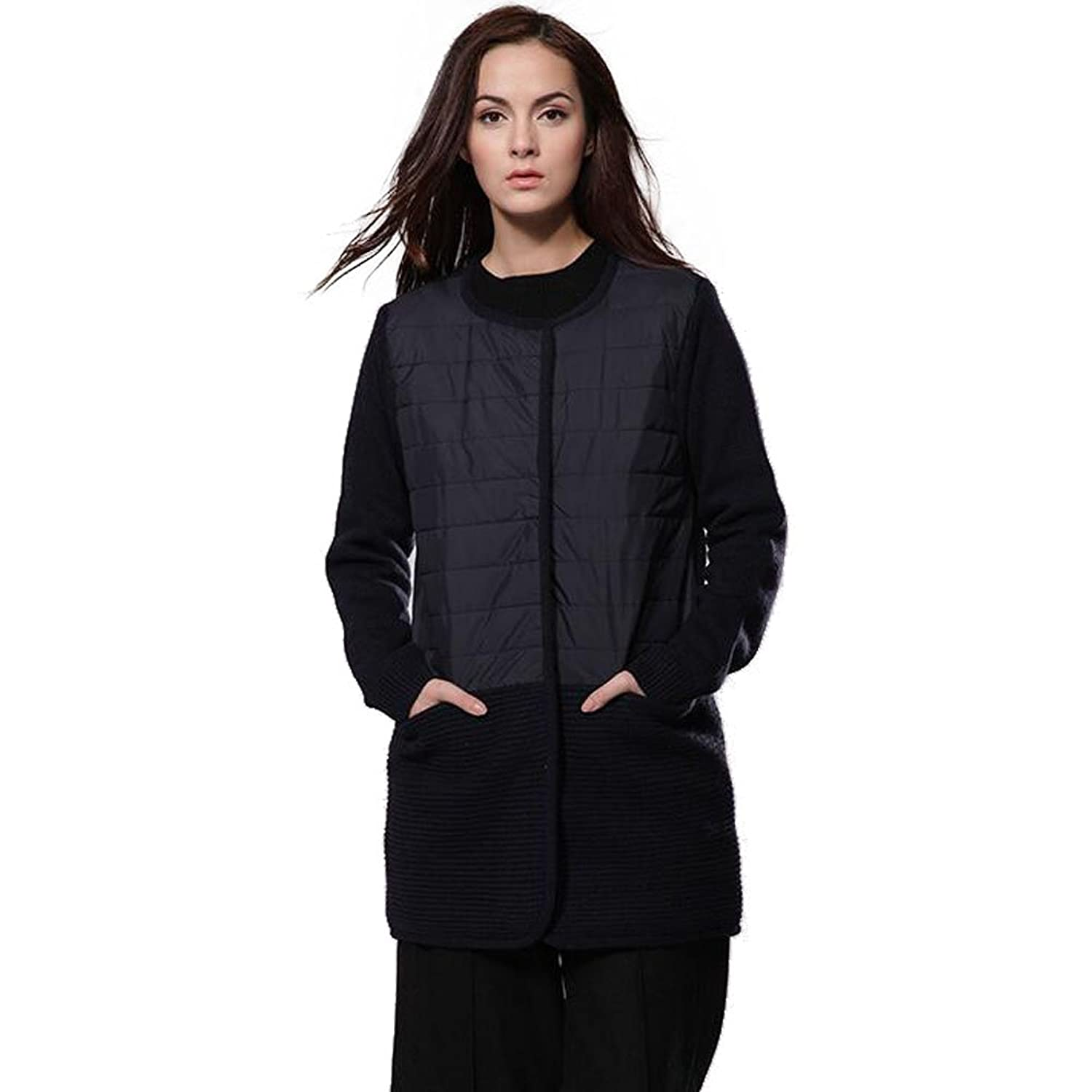 Women's loose round neck patchwork open front middle-long cardigan sweater coat