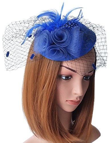 (Coolwife Fascinator Womens Pillbox Hat British Bowler Hat Flower Veil Wedding Hat Tea Party Hat (Royal)