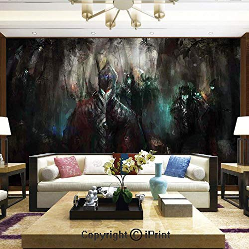 Lionpapa_mural Wall Decoration Designs for Bedroom,Kitchen,Self-AdhesiveCybernetics Army Deep in The Forest Futuristic Artificial Evil Fighters Theme,Home Decor - 66x96 ()