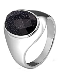 Aokarry Stainless Steel Ring for Men Boy Father Oval Starry Sky Cubic Zirconia Class Ring 20MM