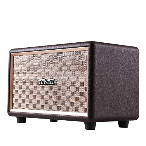 TEWELL Bluetooth Speakers, Retrorock AC Powered Retro Speaker with Deep Bass, Stereo Sound for Bookshelf, Party, Bedroom, Living Room and Study (Brown)