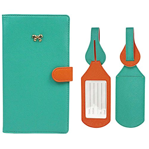 JAVOedge Travel Set: Turquoise / Orange Two Tone Color Long RFID Blocking Passport Case with 2 Matching Luggage Tags (Multi Passport Currency Case)