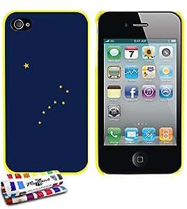 Carcasa Rigida Ultra-Slim APPLE IPHONE 4 / IPHONE 4S de exclusivo motivo [Alaska Bandera] [Amarillo] de MUZZANO  + ESTILETE y PAÑO MUZZANO REGALADOS - La Protección Antigolpes ULTIMA, ELEGANTE Y DURADERA para su APPLE IPHONE 4 / IPHONE 4S