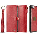 iPhone 8 Plus Case, iPhone 7 Plus Case, XRPow Detachable Magnetic Leather Wallet Folio Flip Card Slim Cover for iPhone 7 Plus/8 Plus 5.5inch with Wrist Strap RED