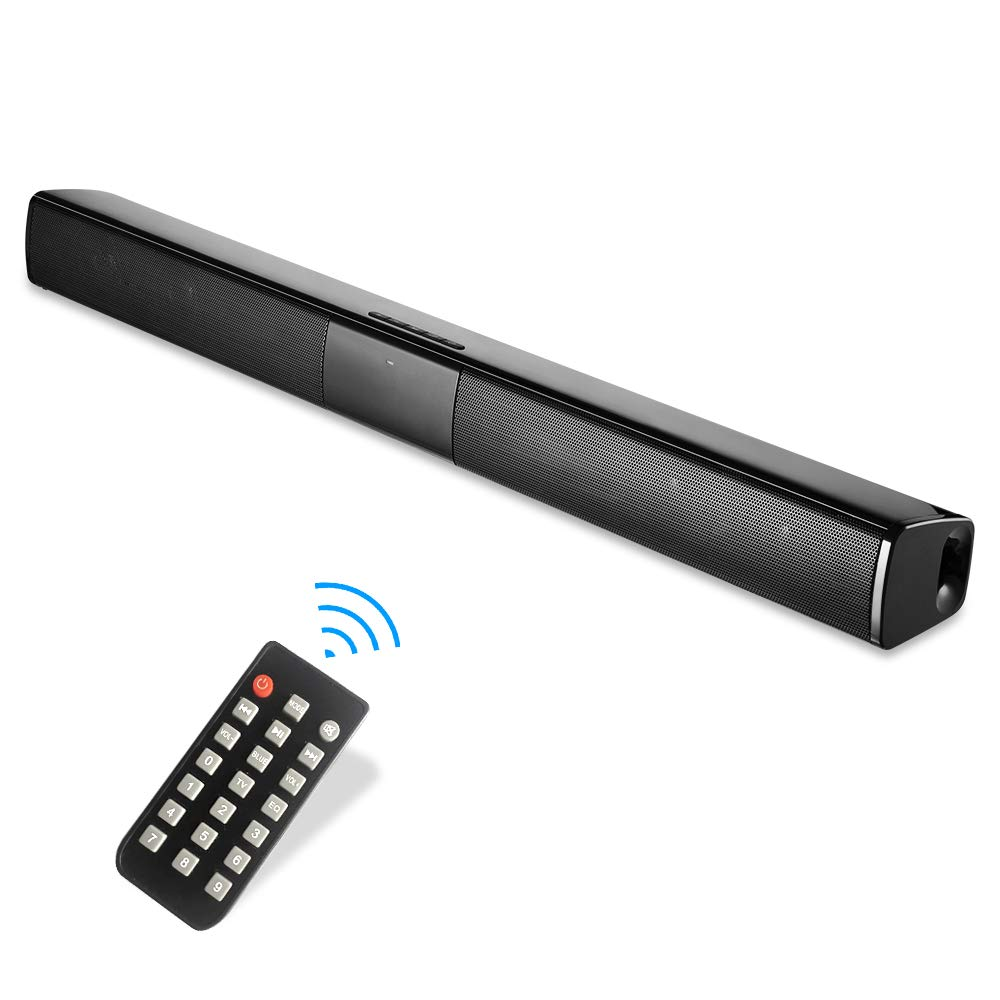 Sound Bar, Wired and Wireless TV Soundbar, Bluetooth Bar Speaker 20W Stereo Surround Deep Bass TV Speaker with Subwoofer for TV, PC, Smartphone, Tablet, Remote Control, Bluetooth/AUX/RCA, 22-inch
