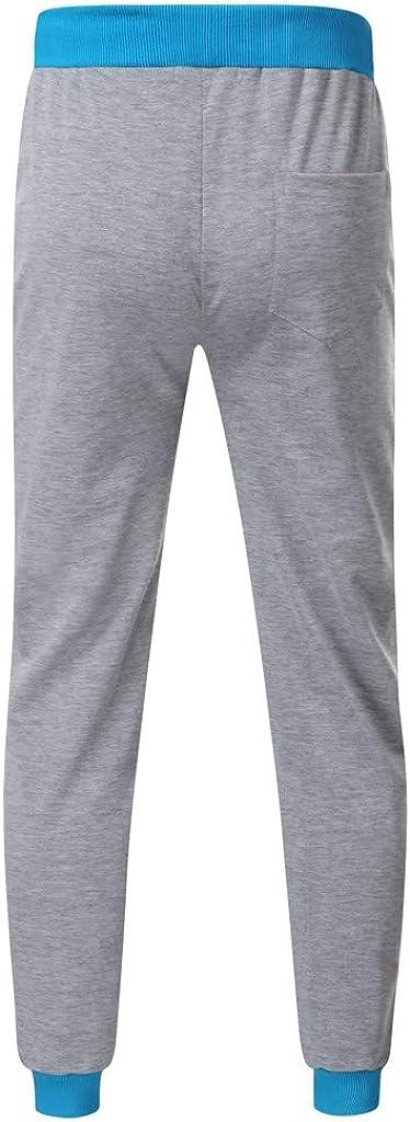 TTOOHHH Men Casual Loose Letter Print Drawstring Elastic Waist Running Pants Trousers Sweatpants