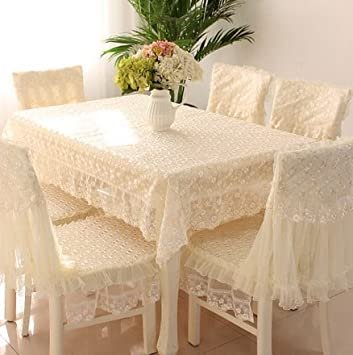 Generic Lace Round Square Tablecloth Chair Cover Cushions Europe Pastoral Style Home Hotel Dining
