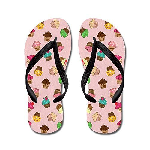 Cafepress Cupcakes - Flip Flops, Roliga Rem Sandaler, Strand Sandaler Svart