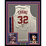 "Framed Autographed/Signed Julius Erving ""Dr. J"" 33x42 New York Nets ABA White Basketball Jersey JSA COA"