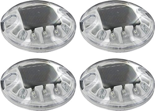 (4 Pack) Solar White LED Round Polycarbonate Road Stud Deck Dock Path Light For Sale