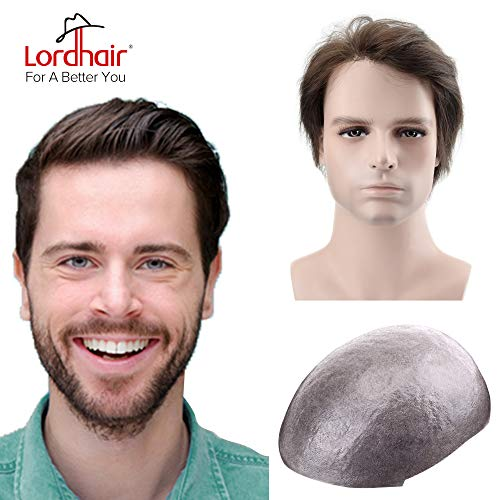 Lordhair Mens Toupee Brown Super Thin Skin Hair System Color 2 (6 Colors Available) (Best Colors For Brown Skin Men)
