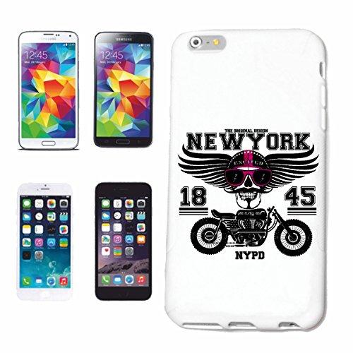 """cas de téléphone iPhone 7+ Plus """"NEW YORK BIKER EXCITED SHIRT MOTO CHOPPER MOTO GOTHIQUE SKULL MOTO CLUB BIKE ROUTE 66"""" Hard Case Cover Téléphone Covers Smart Cover pour Apple iPhone en blanc"""