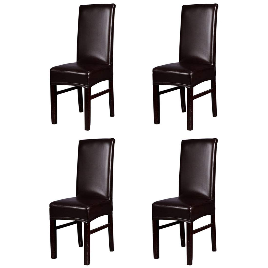 YUENA CARE 4Pack Dining Chair Covers Waterproof Faux Leather Chair Slipcover Washable Romovable Seat Protectors Home Kitchen Party Hotel Brown