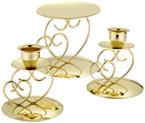 Darice Victoria Lynn Unity Candle Holder 3-Piece Set - Includes 2 Taper Candle Holders, 1 Pillar Candle Holder - Elegant Open Combined Hearts Design - Perfect for Wedding Ceremony, Gold (Unity Candle Taper)