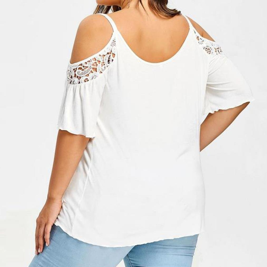 Amazon.com: Teresamoon Clearance Deal Girl Womens Plus Size Cold Shoulder Tops Short Sleeve Tshirt: Clothing